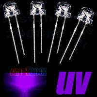 100pcs x 5mm straw hat LED Wide Angle UV nm395--400 1200MCD