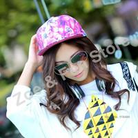 2PCS Free Shipping Floral Womens 2013 Hat Adjustable Unisex Baseball Snapbacks Hip Hop Korean Flat Brim Flower Printing Caps Hat