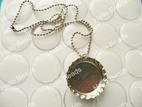 """100pcs/lot Bottle Cap Necklace Kit - Regular Pendants with 18"""" Ball Chain Silver Tone Necklaces and Epoxy Stickers"""