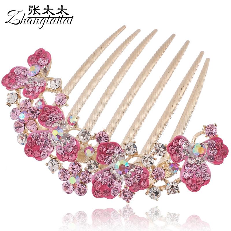 Hair accessory rhinestone flower big insert comb hair maker accessories comb hair pin hair accessory e075(China (Mainland))