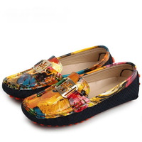 2013 Personalized doodle genuine leather women's loafers shoes brand female casual fashion flat shoes