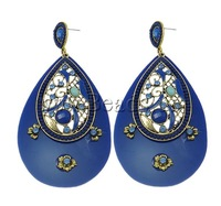 Free shipping!!!Zinc Alloy Earrings,High quality, with Resin & Acrylic, Teardrop, antique gold color plated