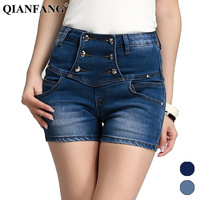 2013 buttons high waist jeans female vintage denim shorts