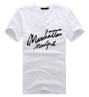 Summer t-shirt short-sleeve male short-sleeve T-shirt men's clothing short-sleeve V-neck letter t-shirt male short-sleeve