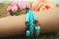 Bronze anchor blue hand woven leather  Wax Rope Bracelet Fashion Jewelry for lady / girls [JCZL DIY Shop]