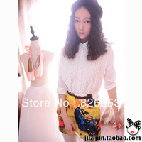Free shipping 2013 spring autumn fashion vintage peacock lace white medium-long slim aesthetic women's shirt
