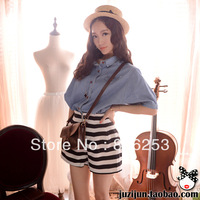 Free shipping 2013 autumn fashion vintage batwing sleeve loose 5 half sleeve denim women's shirt