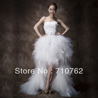 Low-high feather wedding dress sweet tube top type princess formal dress short trailing wedding dress