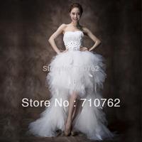 Low-high feather wedding dress sweet tube top type princess formal dress short trailing wedding dress