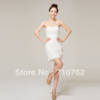 Bridesmaid dress 2013 bride wedding dress sexy tube top short design small evening dress skirt