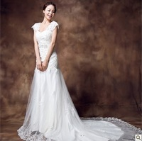 Lace racerback V-neck double bag sweet princess vintage train fish tail wedding dress formal dress