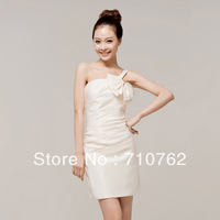 Design short one shoulder oblique champagne color married slim evening dress bridesmaid dress skirt