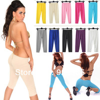 Hot Women Summer Sexy Solid Capri Leggings Out Fit Stretchy  3/4 pants Free shipping  #E7083