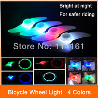 Leaf shape bike light 1 touch switch cycling bicycle light  waterproof bike  LED wheel light bright LED lamp- 4 colors