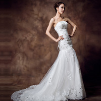 Short trailing the bride tube top slim marriage yarn sweet princess fish tail wedding dress