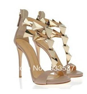 Golden pyramid studs leather sandals pink design dress shoe ankle double strap platform pumps