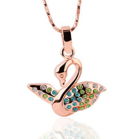 ZKN236 Christmas Gift Swan Pendant 18K Gold Plated Pendant Necklace Jewelry Austrian Crystal SWA Elements Wholesale