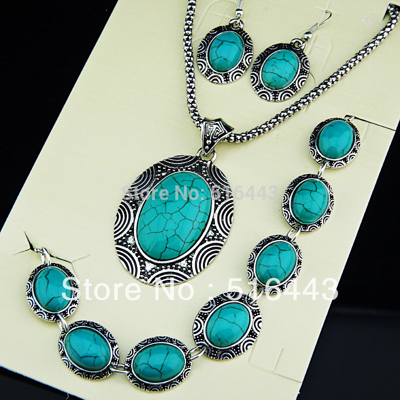 2014 Rushed New Arrival 3pcs Vintage Antique Silver P Turquoise Oval Earrings Bracelet Necklace Women Jewelry Set A671(China (Mainland))