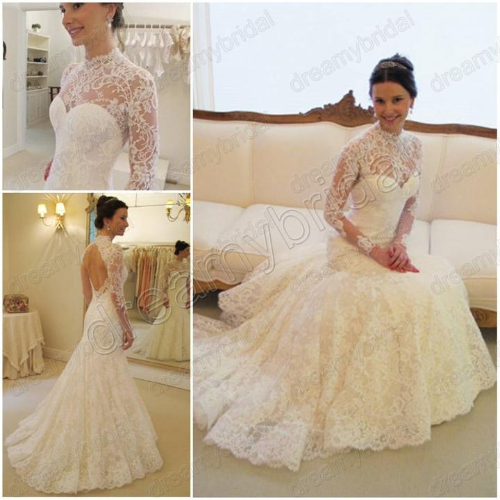 Free Shipping Vestidos De Noiva 2015 High Neck Mermaid Wedding Dress Vintage Lace Long Sleeve