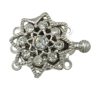 Free shipping!!!Brass Box Clasp,Trendy Fashion Jewelry, Flower, platinum color plated, 3-strand & with rhinestone, nickel