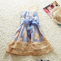 2013 summer silk one-piece dress gauze cutout print plaid patchwork JORYA formal dress elegant bow