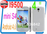 HOT mini i9500 S4 3MP 4.0 inch MTK6515 android 4.0 1GHz Smart Phone Dual Sim Dual Cameras s4 phone (Free shipping )