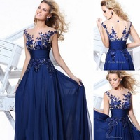 2013 Zuhair Murad Design V-neck Long Evening Dresses Vintage Beach Chiffon Navy Blue Prom Gown With Floral Lace