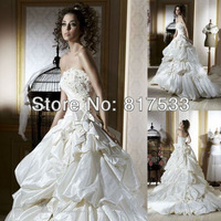 Luxuriant wedding dress dress with Long train Pleat diamonds Sleeveless Applique Ball Gown Floor Length Bridal Gowns