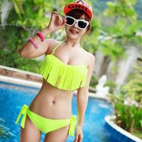 Fringed bikini sexy Steel push up sexy tassel neon bikini female swimwear bikini hot spring