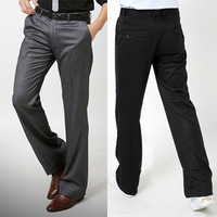 Free shipping 2013 new fashion British style suit pants back pocket flip straight male business casual pants black gray