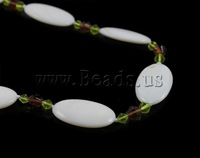 Free shipping!!!Shell Necklaces,promotion, with Crystal, Oval, white, 16x26mm, Length:30 Inch, Sold Per 30 Inch