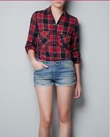 Free shipping 2014 new European and American fashion casual classic plaid shirt pocket  rivets  cardigan