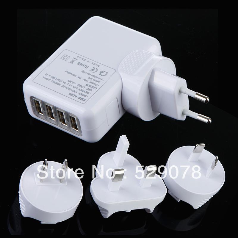 5pcs(1pcs charger+4pcs adapter plug) /SET/ LOT, 4 USB Ports Wall Charger with EU/AU/US/UK Plug, Universal Home Travel Charger(China (Mainland))