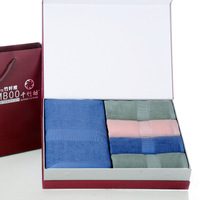 Honorable purplish red gift box 14 Indian fiber bath towel washouts gift set