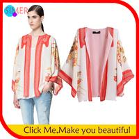 Women's Chiffon Bat Sleeved Coats Batwing Sleeve Print Floral Japan Jackets Kimono Designer Outwear Free Shipping