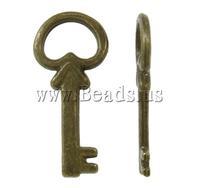 Free shipping!!!Zinc Alloy Key Pendants,Korea Jewelry, antique bronze color plated, nickel, lead & cadmium free, 10x21.50x2mm
