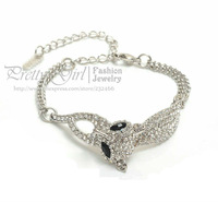 TPE Leadless Health Metal,Real Rhodium Plated Rhinestones Inlaid Beauty Fox Bracelet,Fashion Animal Jewelry Bracelet