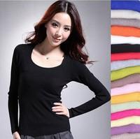12color O-Neck  2013 new Women spring/autumn all-match mercerized cotton u long-sleeve basic sweater