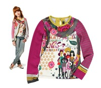 children kids Fashionable city girl color printing Long sleeve T-shirt  undershirt