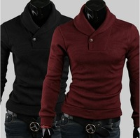 Free Shipping 2013 New Winter mens fashion pullover turn-down collar Decorative buttons mens pullover 4 colors M-XXL  ZQ03