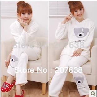 Best Selling!women cute bear with hoody fleece sleepwear ladies winter pajamas nightgown set free shipping(China (Mainland))