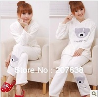 Best Selling!women cute bear with hoody fleece sleepwear ladies winter pajamas nightgown set free shipping