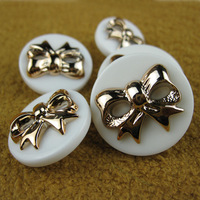 clothing accessories button bow button resin double gold buckle sweet princess white buttons wholesale 50pc/lot