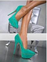 2013 Fashion closed toe classic green suede platform high heel shoes