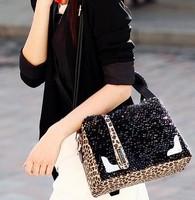 Free Shipping Winter Handbag,Leopard Sequins Women Handbags,pu Leather Ladies Shoulder Bag,Messenger Bag,Hot Selling Top Quality