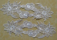 FREE SHIPPING 32*12cm water soluble embroidery mirrored appliques,wedding dress applique accessories,XERY14301B