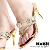 2014 shoes new arrival kvoll elegant diamond flip-flop stiletto 81636 flip flops slippers