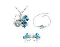 Wholesale fashion white gold plated clover crystal rhinestone jewelry set make with swarovski element
