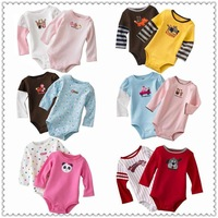 free shipping R02 Mixed color 5pcs/package Stock Wholesale triangle baby Rompers long sleeve cotton Triangle Romper