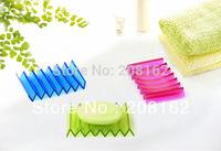 Creative Soap Box Transparent Soft Silicone Soap Dish Moire Soap Shelf Storage Rack ( mix order 10 usd )